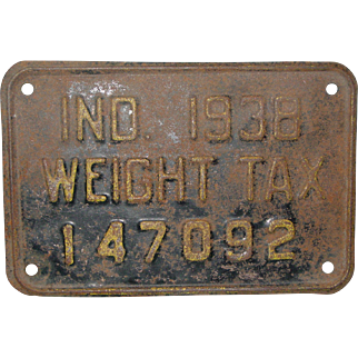 Original 1938 Indiana Truck Weight Tax License Plate
