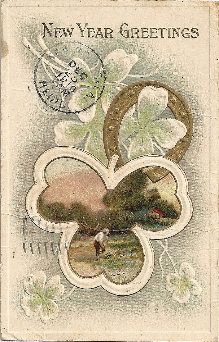 1910 Embossed New Year Greetings Postcard Horseshoe Four Leaf Clover