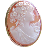 Antique 18K Gold Shell Cameo Brooch/Pendant