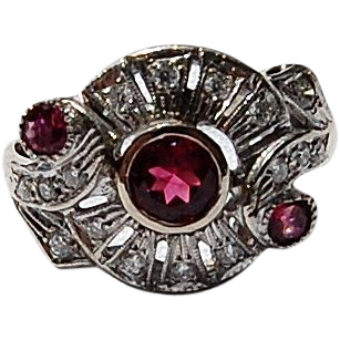 Vintage 14K White Gold Diamond and Pink Tourmaline Ring