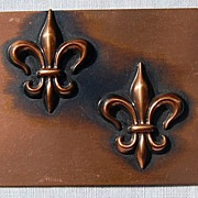 Signed Rebajes Modernist Copper Fleur d Lis Brooch/Pin