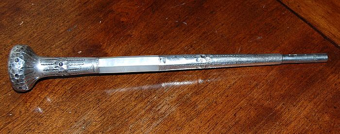 Edwardian 25th Anniversary MOP Sterling Silver Umbrella Handle