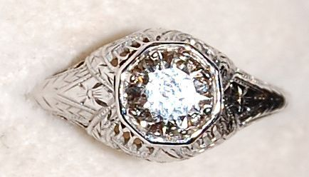 Classic Art Deco Belais Brothers 18K White Gold Diamond Filigree Engagement Ring