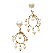 Vintage 14K Gold Screw Back Dangle Pearl Earrings