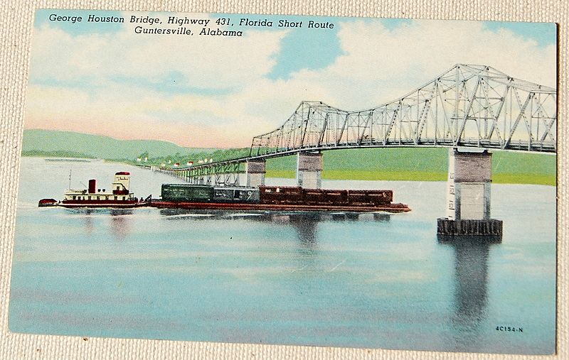 Vintage Postcard George Houston Bridge Guntersville Alabama