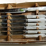 Vintage English Seven Piece Dessert Knife Set