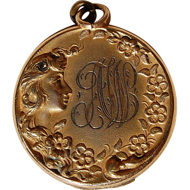 Art Nouveau Gold Filled Floral Repousse Locket
