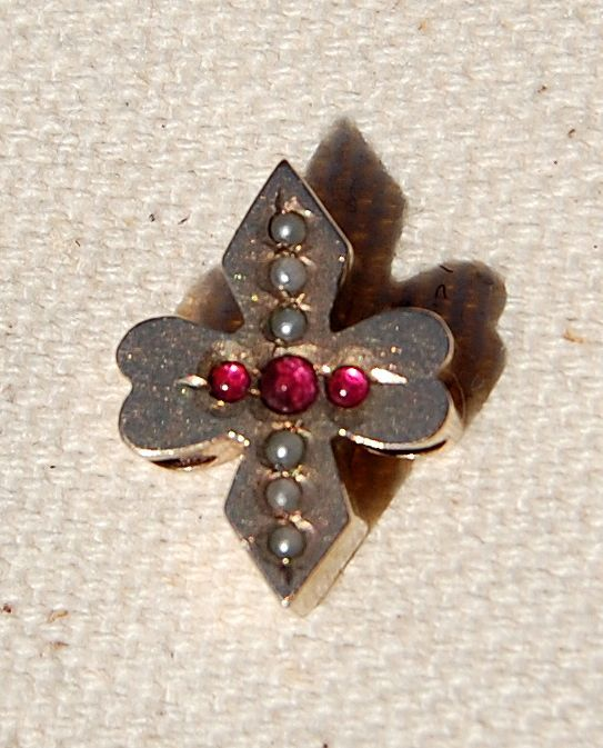 SOLD   Large Victorian 10K Gold Seed Pearl Faux Ruby Slide