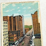 1919 Vintage Postcard View Of Twentieth St. Birmingham