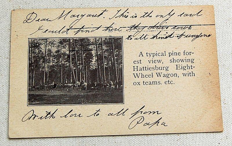 1906 Postcard Hattiesburg Mississippi Eight Wheel Wagon