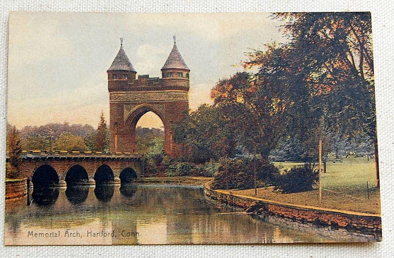 Vintage Postcard Memorial Arch Hartford Conn