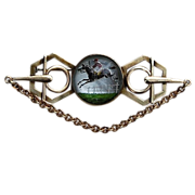 1910 - 1915 Reverse Painted Equestrian Steeple Chase Brooch