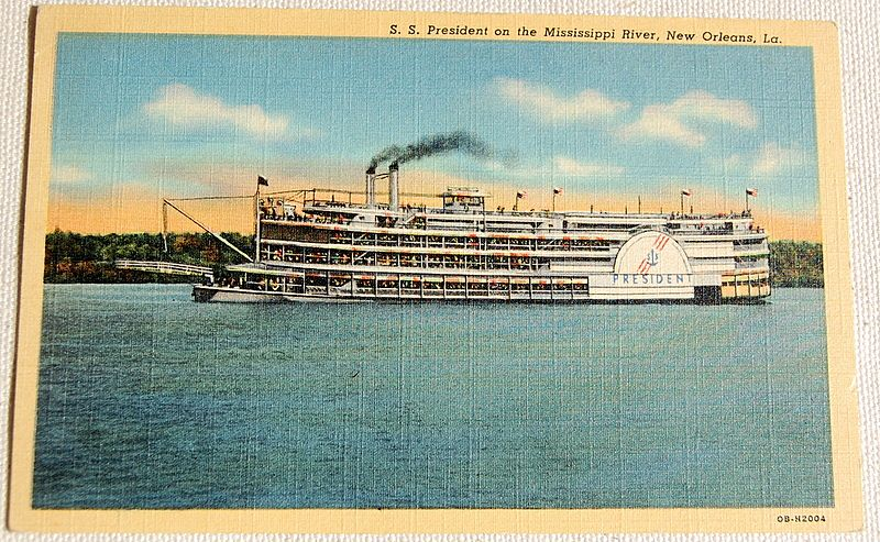 Vintage S. S. President  On The Mississippi River Postcard