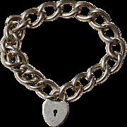 Vintage Sterling Silver Heart Padlock Clasp/Charm Bracelet