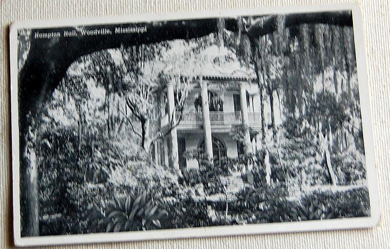 Vintage Postcard Hampton Hall Woodville Mississippi Best