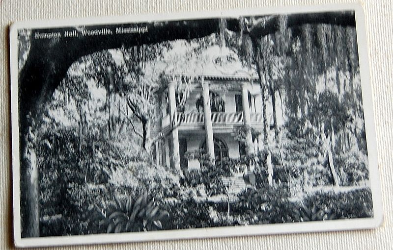 Vintage Postcard Hampton Hall Woodville Mississippi
