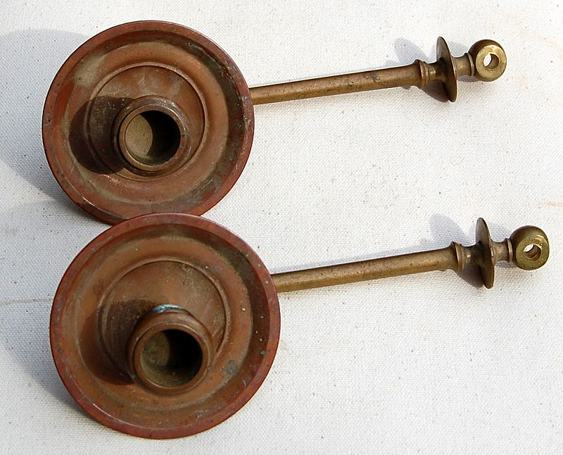 Two Antique Piano Candle Sconce Arms