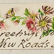 Vintage Embossed Glitter Postcard New Roads Louisiana