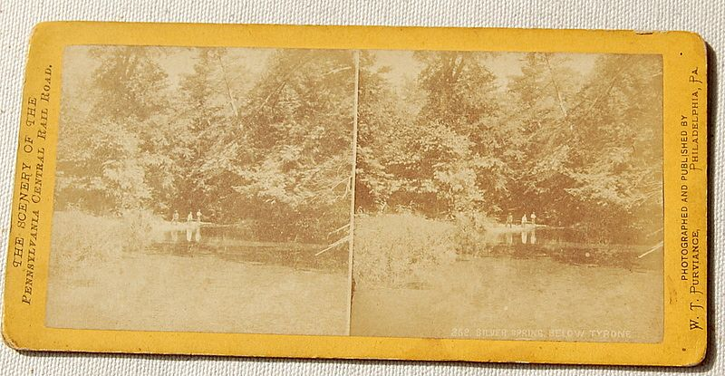 1871  Stereophotography Stereoview Scenery Of The Pennsylvania Central Rail Road