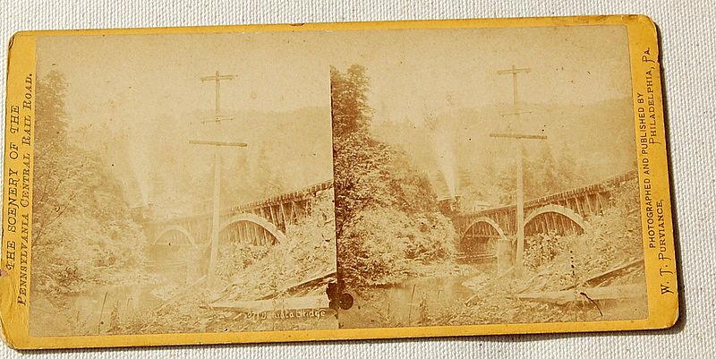 1871 Stereophotography Stereoview The Scenery Of The Pennsylvania Central Rail Road