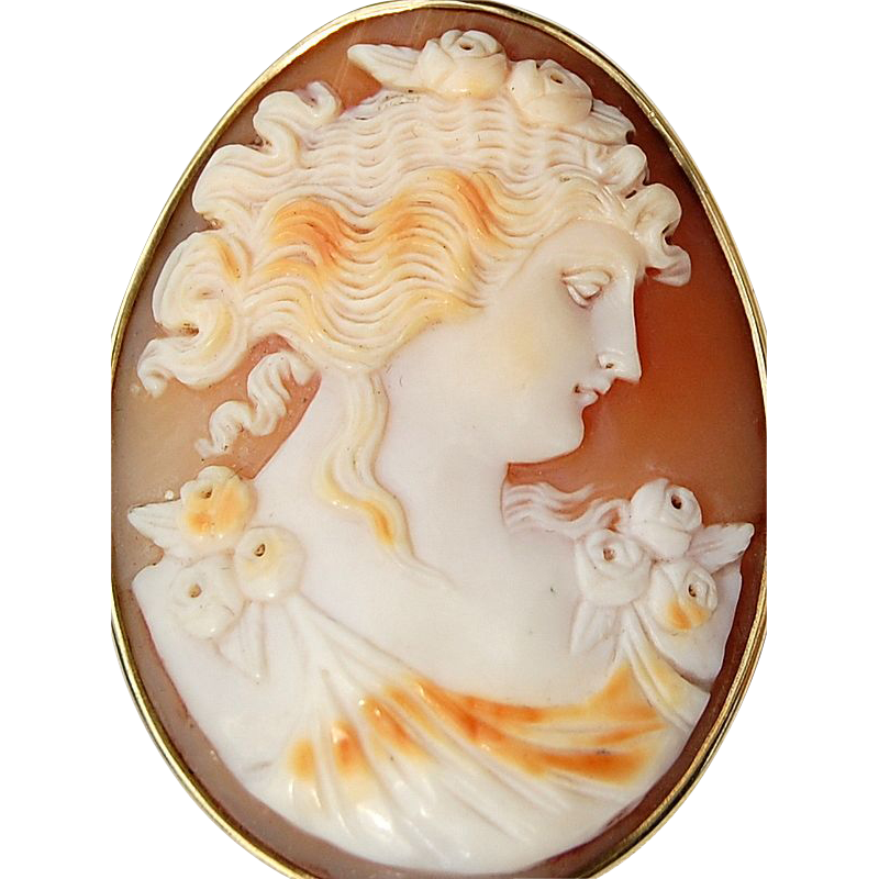 Victorian 14K Gold Shell Cameo Brooch/Pendant