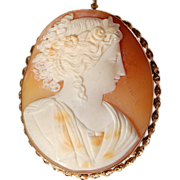 Victorian Gold Filled Large Shell Cameo Brooch/Pendant