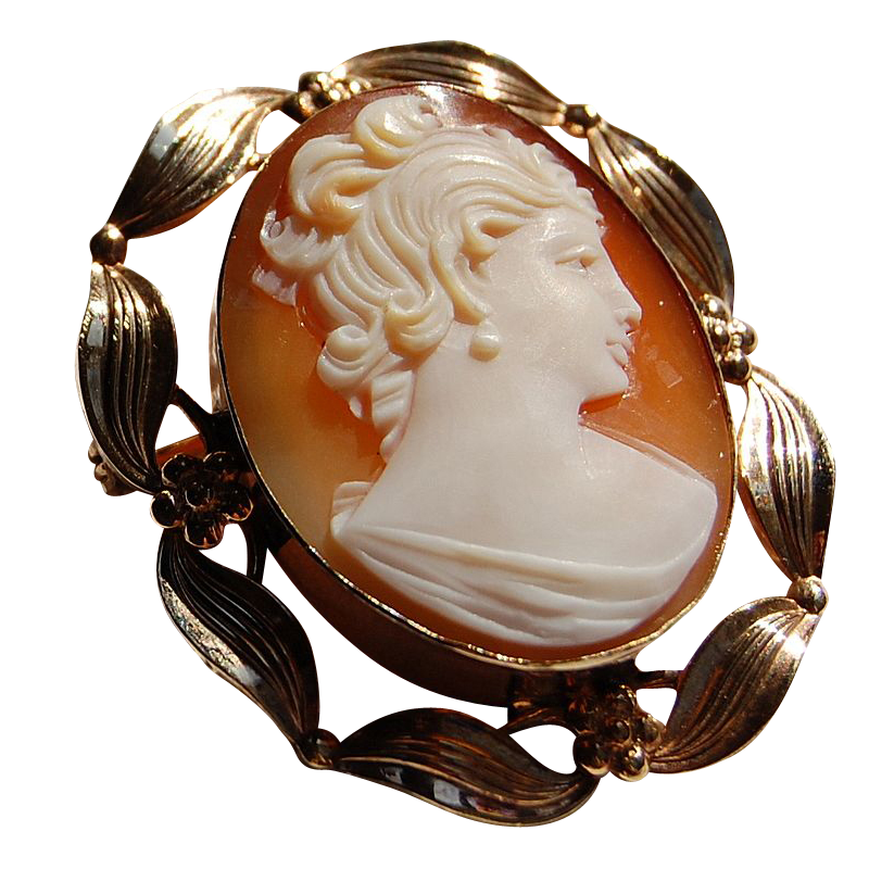 Vintage Gold Filled Stone Cameo Brooch/Pendant
