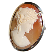 Vintage 800 Silver Shell Cameo Brooch/Pendant