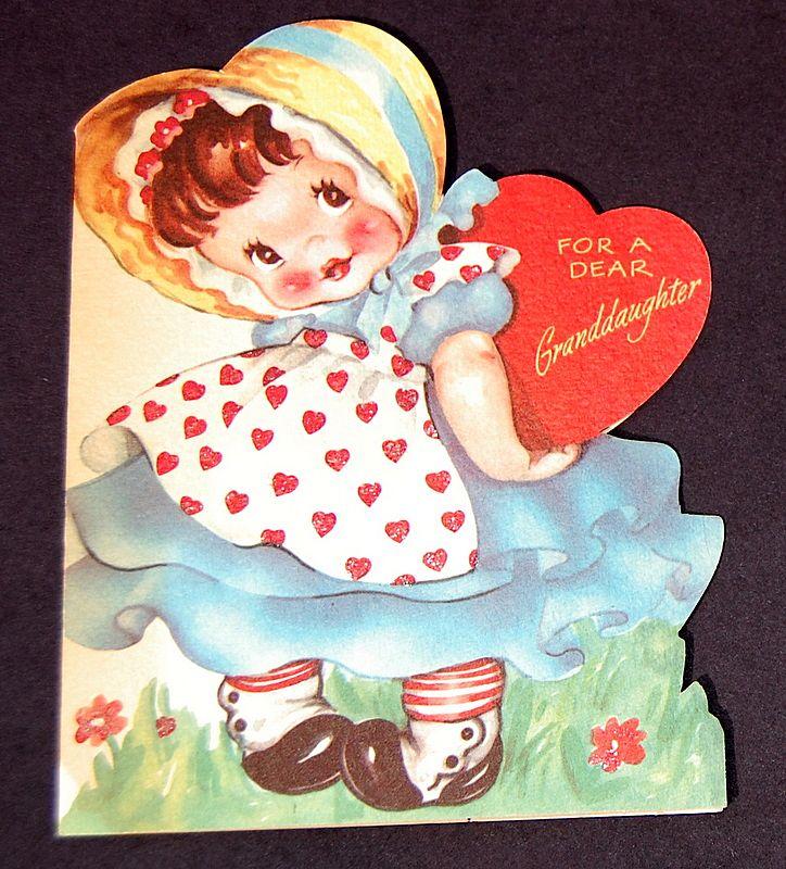 Vintage 1940s American Greeting Valentine Card Granddaughter from – Granddaughter Valentine Card