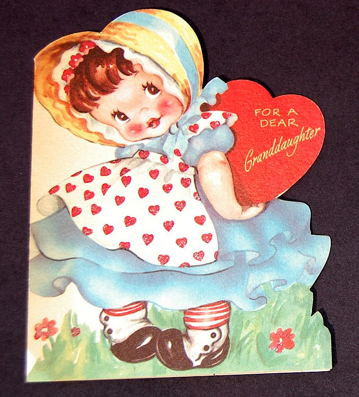 Vintage 1940's American Greeting Valentine Card Granddaughter