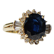 Vintage 14 K Gold  4.56 Ct. Sapphire & Diamond Ring