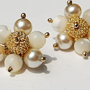 Vintage Faux Pearl & MOP Clip Earrings