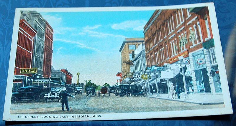 Vintage Postcard 5th Street Looking East Meridian