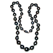 Beautiful Vintage Tahitian Black Baroque Cultured Pearl Necklace 18K Catch