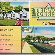 1948 Vintage Postcard Triangle Court Meridian Mississippi