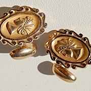 Vintage Gold Filled Fancy Ladies Head Motif Cuff Links