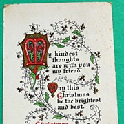 1917 Vintage Christmas Greetings Postcard