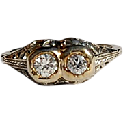 Wonderful Art Deco 18K Gold Diamond Filigree Ring