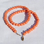 Vintage 6MM Faux Coral Bead Necklace