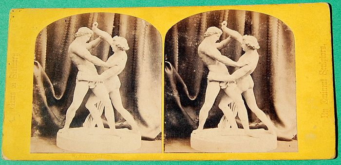 1867 Jacob Wrestling With An Angel No. 48 Stereoview W. England Photo