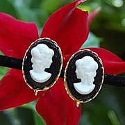 Vintage Black & White Screw Back Cameo Earrings