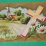 Embossed Easter Greetings Post Card