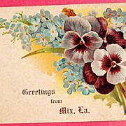 1907 Greetings From Mix, Louisiana Pansy Postcard