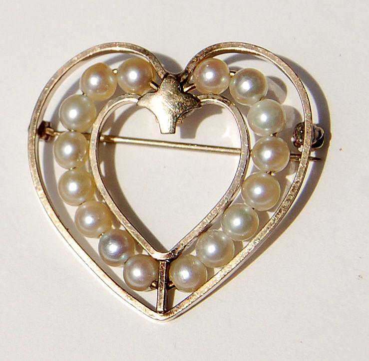 Vintage Van Dell Gold Filled Faux Pearl Heart Shape Brooch
