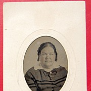 Tin Type Lady On Card In Oval Frame