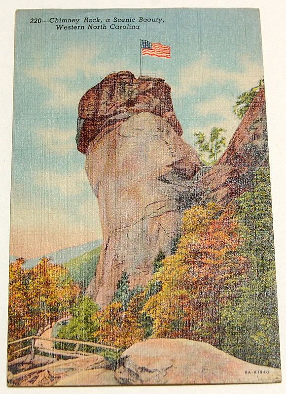1947 Chimney Rock, Western North Carolina Postcard #220
