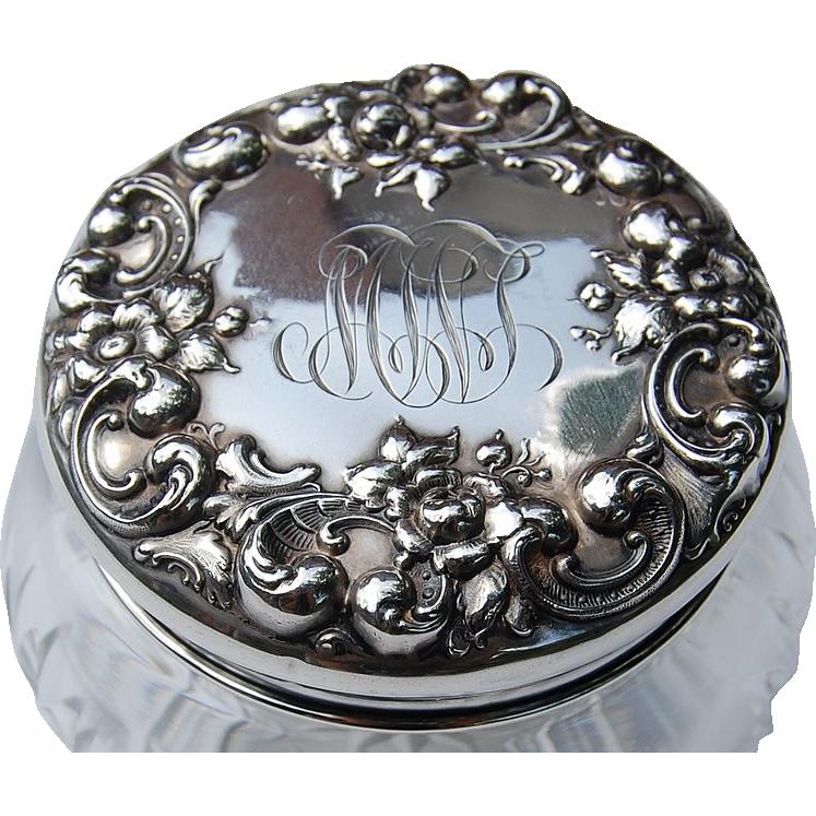 Sterling Silver & Cut Crystal Floral Repousse Dresser Jar