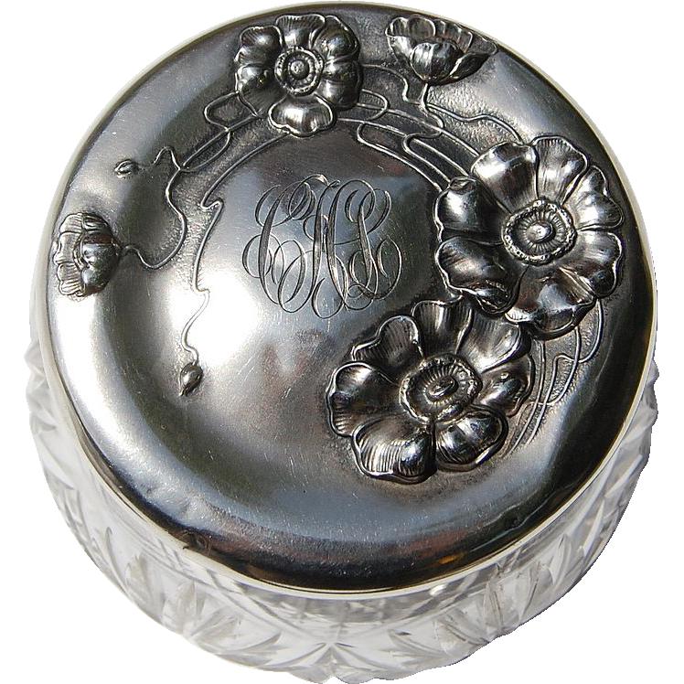 Unger Jonquil Sterling Silver Cut Crystal Dresser Jar