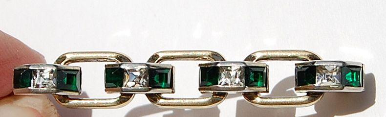 Vintage Silver Emerald & Clear Rhinestone Brooch