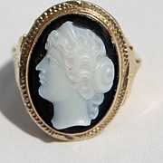 Antique Victorian 14K Gold Sardonyx Cameo Ring